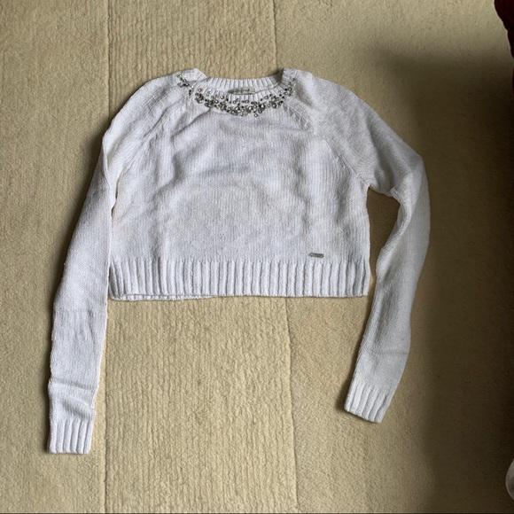 Abercrombie Jeweled Neckline cropped sweater S